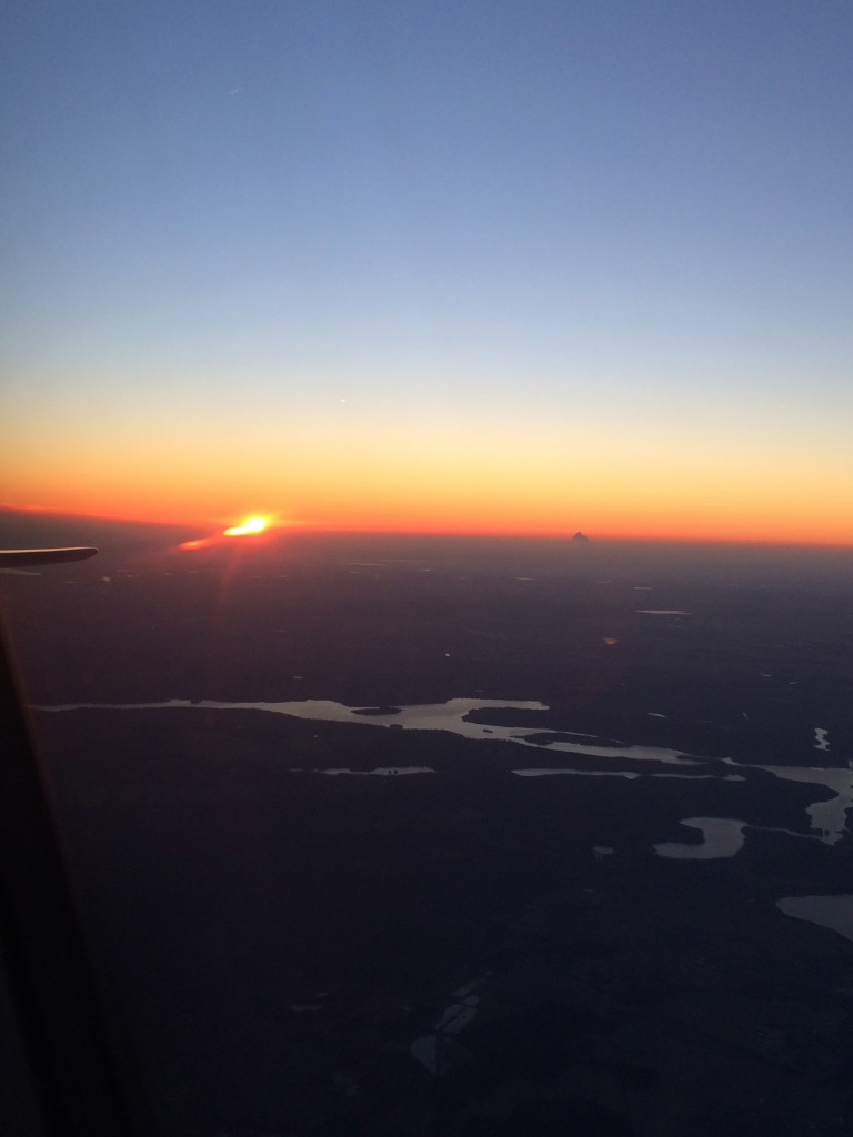 Sunrise flying over Germany